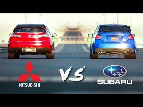 Mitsubishi Lancer Evo X VS Subaru WRX STI   Drag Race #3