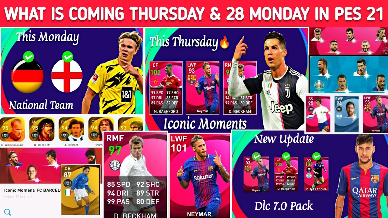 What's Coming Thursday & 28 June Monday In Pes 2021 | Iconic Neymar, Free Rewards & New Legends More