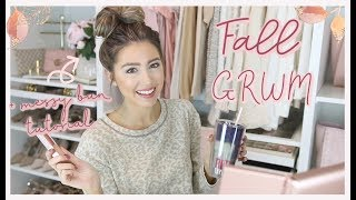 FALL GET READY WITH ME | MESSY BUN TUTORIAL! HAIR, MAKEUP, COZY OUTFIT 🍁