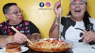 CHEESY SPICY RICE CAKE WITH KING CRABS MUKBANG