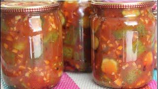 Сколько их не готовь всегда мало Огурцы на зиму в томате по новому Еще быстрее еще вкуснее