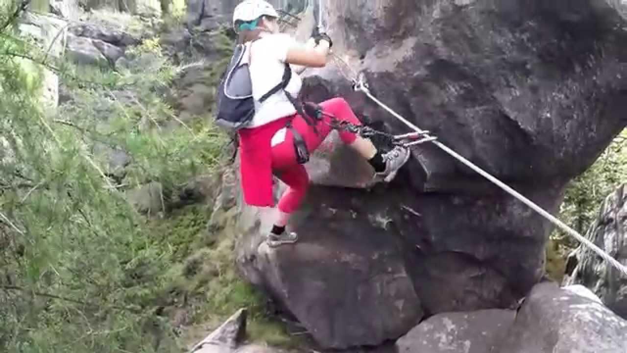 Klettersteig Zittauer Gebirge : Klettersteig alpiner grat im zittauer gebirge youtube