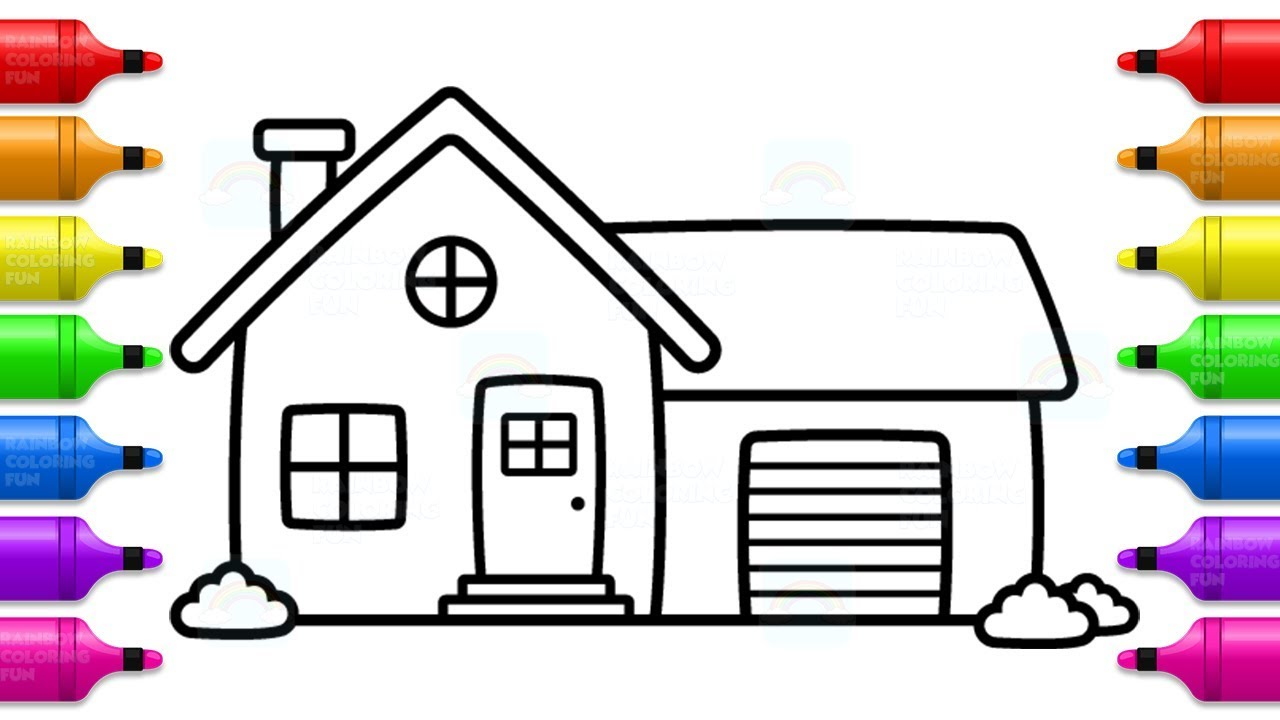 House with Garage Coloring Book and Learn Colors for Kids ...