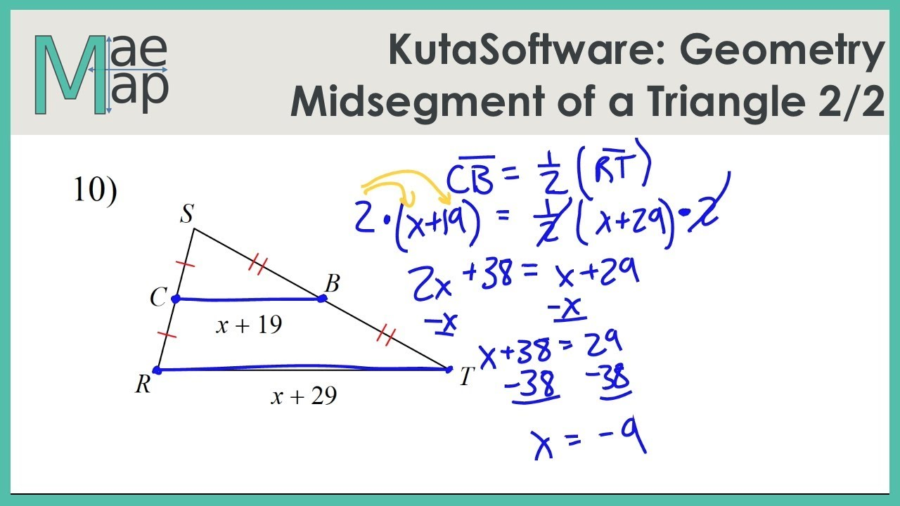 Kutasoftware Geometry Midsegment Of A Triangle Part 2 Youtube