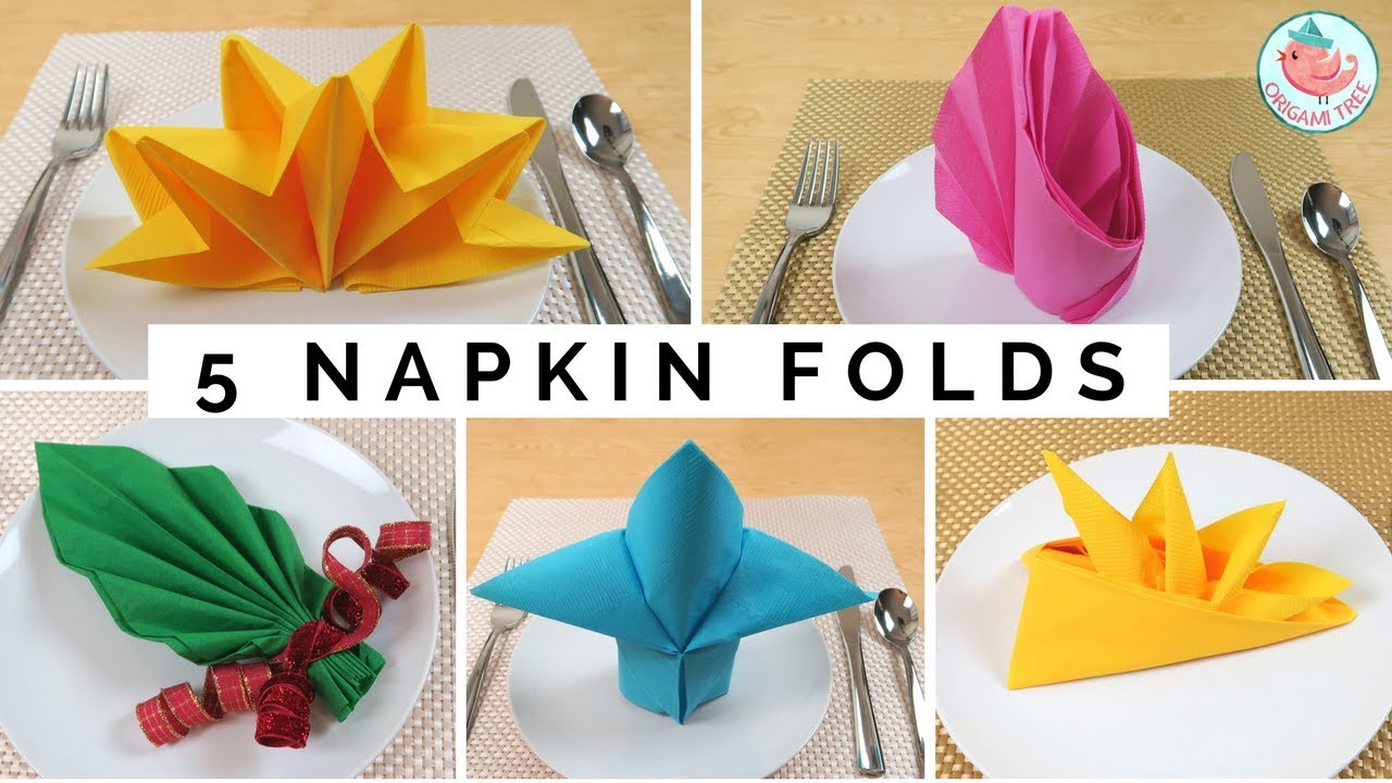 five napkin folding tutorials & folding napkin techniques - as seen