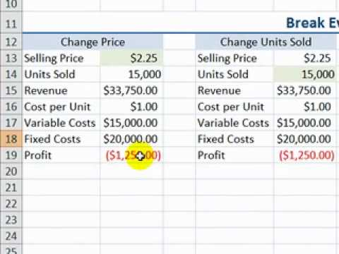 Perform a Break Even Analysis with Excel\u0027s Goal Seek Tool - YouTube - Breakeven Analysis
