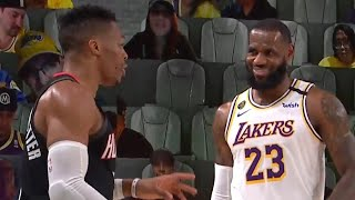 "LeBron James laughs at Russell Westbrook yelling ""they better double me"" down 29 points"