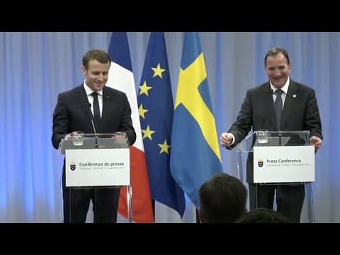 Här chockar president Macron Löfven - med att prata svenska - Nyheterna (TV4)