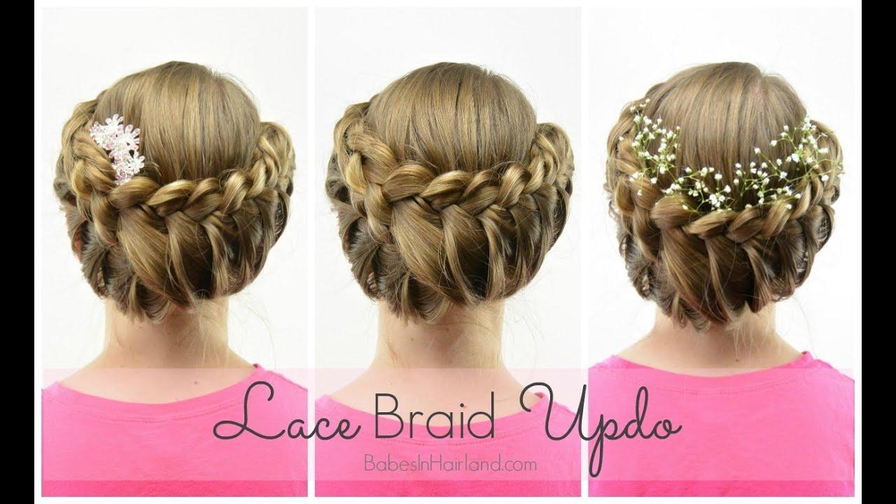 lace braid updo wedding flowergirl