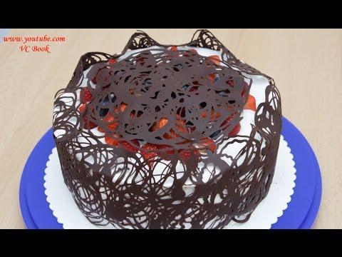 Ягодный торт с шоколадным кружевом | Украшение тортов | Berry Cake With Chocolate Lace