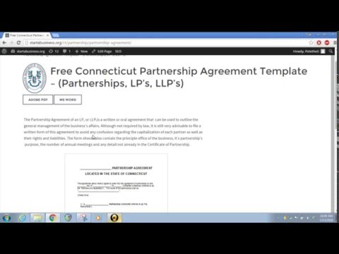 Free Connecticut Partnership Agreement Template – (Partnerships, LP's, LLP's)
