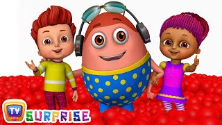 kids play in huge gumball machine ball pit and surprise eggs to learn color red   chuchu tv funzone