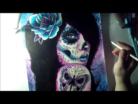 Sugar Skull Girl Tattoo Art Time Lapse Traditional Portrait Illustration - Watercolors and Pens