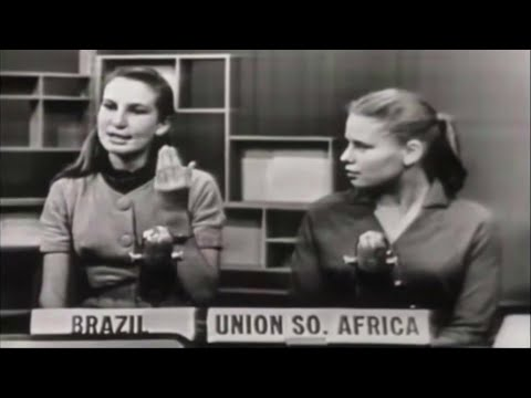 """1958 High school exchange students: Brazil, Ethiopia, Italy, S. Africa. """"How do you view Americans?"""""""