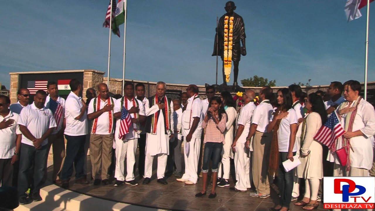 Kirthi Chamkura singing American National Anthem at Gandhi Jayanti celebration