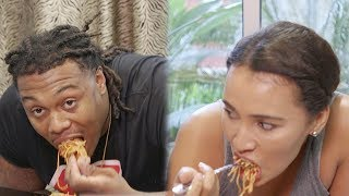 LA Chargers Darius Philon & Britt Johnson COMPETE In 10 Min Spaghetti Eating Challenge | Press Pass