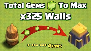 🔥New! Total Gems to Max Walls in Clash of Clans | Level 15 Wall Coc |#Shorts