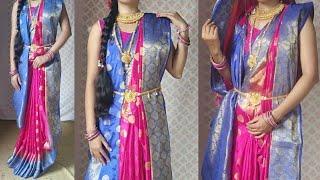 Bengali saree with new style | silk saree wear | Bengoli saree draping | maharani style saree