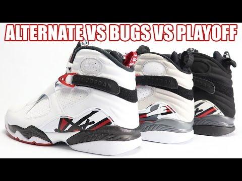 big sale 55b45 cff1f Alternate vs Bugs Bunny vs Playoff Air Jordan 8 Comparison - YouTube