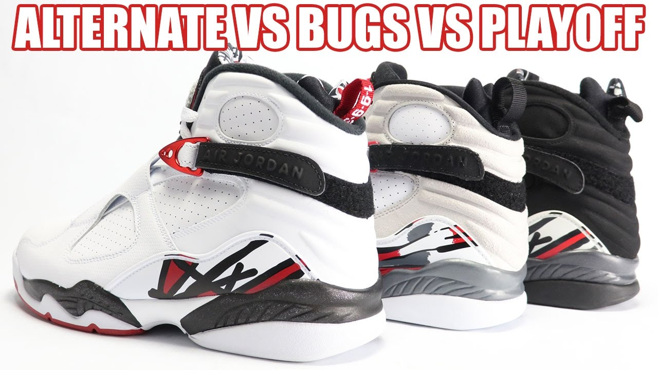 e48d0fcac0e7eb Alternate vs Bugs Bunny vs Playoff Air Jordan 8 Comparison - YouTube