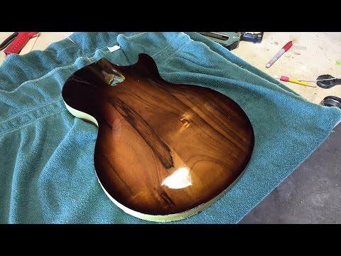 How to Spray a free-hand Sunburst Lacquer Finish on a Custom Koa Les Paul Style Guitar