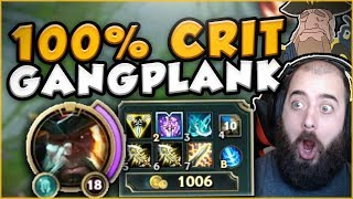 100% CRIT TOBIAS GANGPLANK BUILD IS SO STUPID! 100% CRIT GANGPLANK TOP GAMEPLAY! - League of Legends