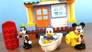 玩米奇妙妙屋 米奇老鼠 唐老鴨 高飛狗 海灘小木屋度假派對 樂高積木遊戲組 玩具開箱