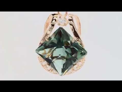 Золотой комплект (кольцо и серьги) с зеленым кварцем