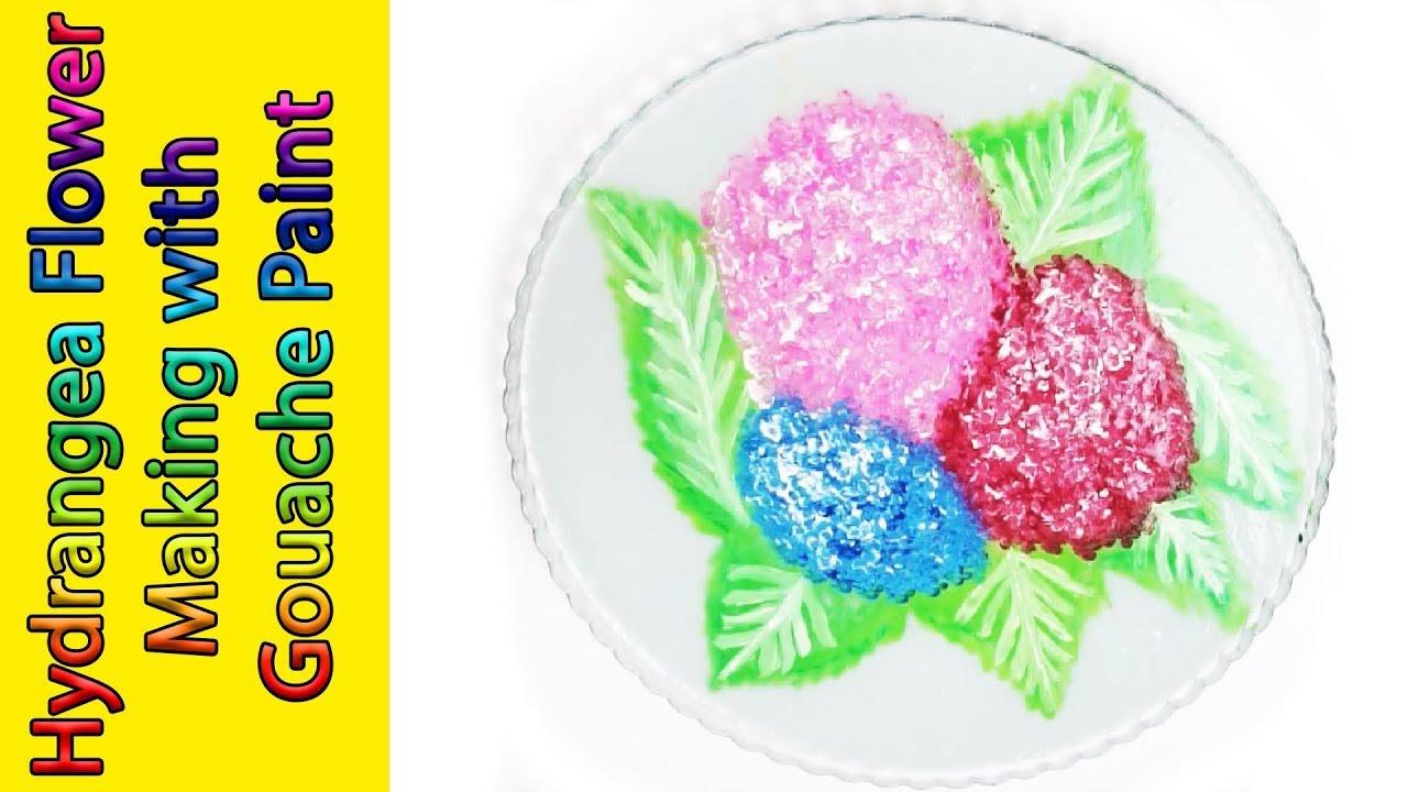 Hydrangea Flower Making With Gouache Paint Guaj Boya Ile Slime