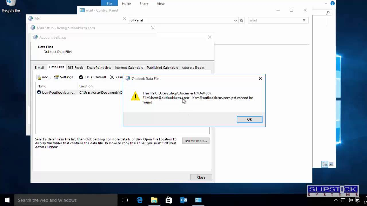 outlook pst file location