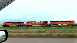 BNSF Train Racing From A Severe Storm Part 1