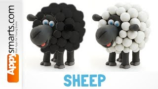 How to Make Playdough Sheep (black and white) - Hey Clay app demo for kids