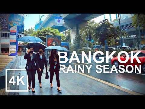 [4K] Bangkok City Rainy Season - Sukhumvit Walk (2020)