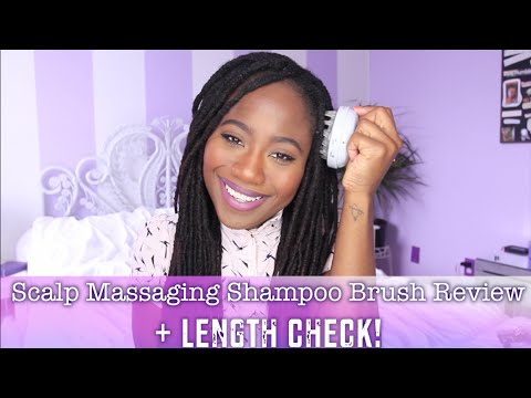 Scalp Massaging Shampoo Brush Review/ Demo + Length Check! ! Natural Hair | JASMINE ROSE