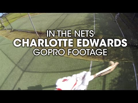 Charlotte Edwards batting in the nets: GoPro footage