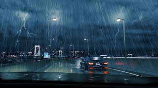 Thunderstorm from Inside a Car Muffled Rain and Thunder Sounds for Sleep Relaxation Room Ambiance