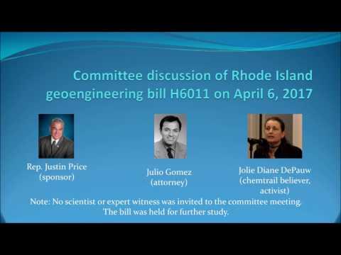 Committee discussion of Rhode Island anti-geoengineering bill 4-6-2017
