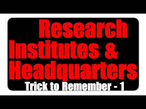 Trick to Remember Research Institutes and Head Quarters in India | Part -1