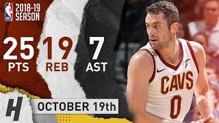 Kevin Love Full Highlights Cavs vs Timberwolves 2018.10.19 - 25 Pts, 19 Reb, 7 Ast