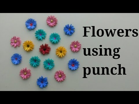 Flower making using paper| DIY Simple paper flowers|Flowers using punch| Paper flowers| DIY flowers