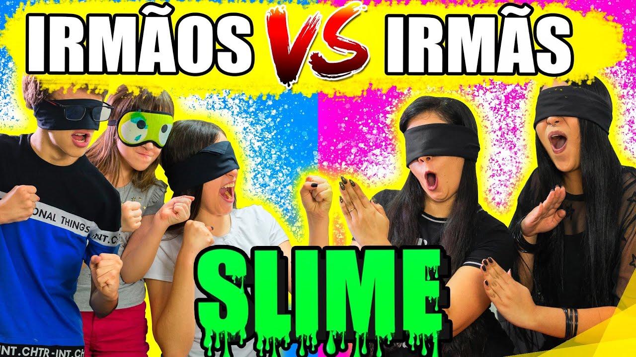 IRMÃOS VS IRMÃS - SLIME DE OLHOS VENDADOS | Blog das irmãs