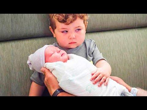 Funny Siblings First Meeting Newborn Baby #2  WE LAUGH
