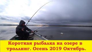 Короткая рыбалка на озере в троллинг на дорожку на озере Fishing on the lake Trolling
