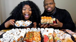 MASSIVE SUSHI MUKBANG 8 DIFFERENT EXOTIC ROLLS OVER 100 PIECES