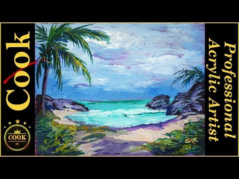 Cozumel Secluded Tropical Beach Acrylic Tutorial with Ginger Cook