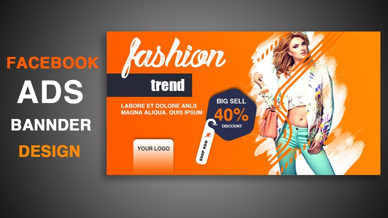 Stylish Facebook Ads Design In Photoshop Cc 2019 Facebook Product Promotion Ads Banner Design Youtube