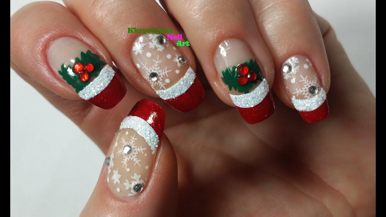 Nail Art For Christmas Christmas Snowflakes Youtube