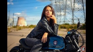 BackStage video custom bike | Triumph photosession with girl model | beauty