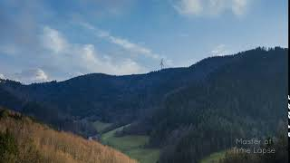 244 Time Lapse Black Forest Valley Evening Trees | Zeitraffer Schwarzwald Tal Abend Bäume Wolken 4K