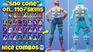 "NEW ""SNO CONE"" BACK BLING Showcased With 110+ SKINS! Fortnite Battle Royale - NEW LIL WHIP SKIN"